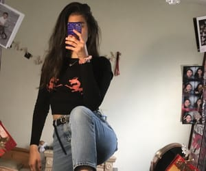 belt, pose, and mom jeans image