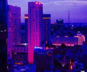 purple, city, and aesthetic image