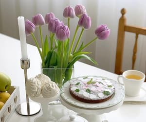 beautiful life, bouquet of flowers, and cake image