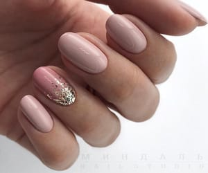 beige, gold, and nail art image