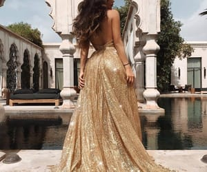 dress, gold, and fashion image