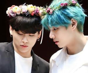 flower crown, bangtan, and taehyung image