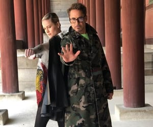 robert downey jr, brie larson, and Avengers image