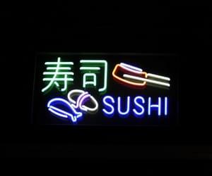 chopsticks, lights, and sushi image