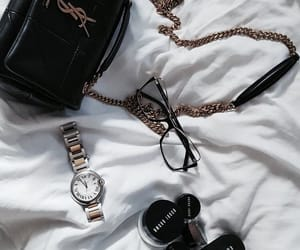 accessories, bag, and bed image