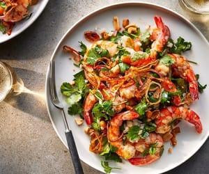 chinese food, salad, and shrimp image