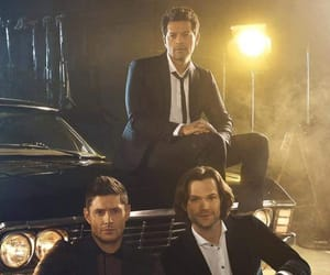 dean winchester, misha collins, and jared padalecki image