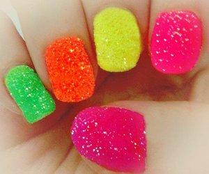 nails, pink, and orange image