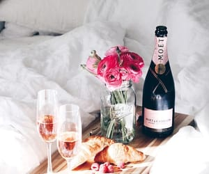 champagne, bed, and flowers image