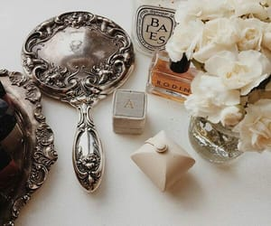 mirror, flowers, and perfume image