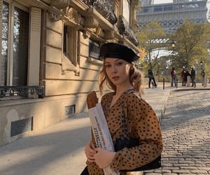 beret, outfit, and bread image