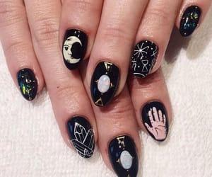 nails, black, and moon image