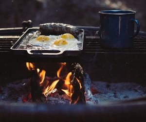 breakfast, eggs, and fire image