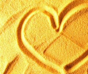 yellow, heart, and beach image