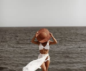 hat, beach, and bikini image