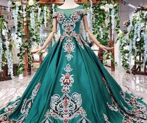 ball gown, quinceanera dresses, and green image