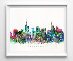 cityscape, wall art, and watercolor art image