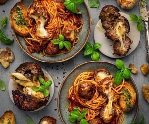 meatball, pasta, and italian food image