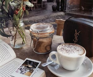 book, coffee, and milk image