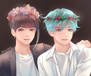 fanart, v, and jungkook image