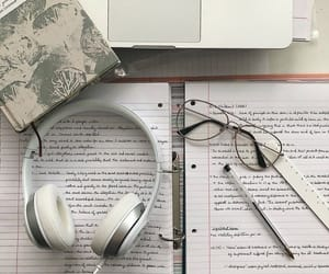 glasses, reading, and headphones image