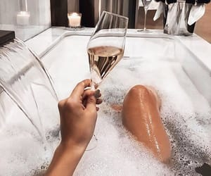 bath, champagne, and chill image
