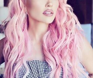 beauty, pink hair, and makeup image