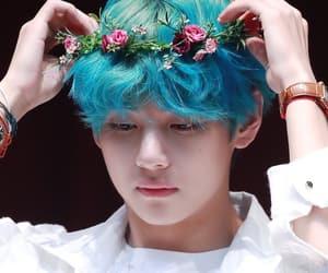 blue hair, flower crown, and bangtan image