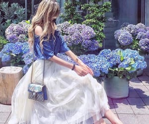 girl, fashion, and blue image