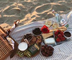 food, beach, and picnic image