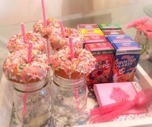 cereal, donuts, and pink image