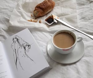 art, coffee, and croissant image