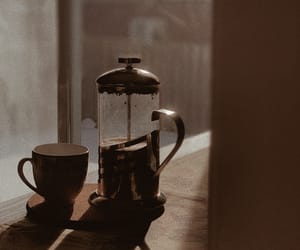coffee, french press, and good morning image
