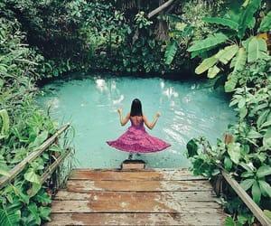 dress, jungle, and lake image