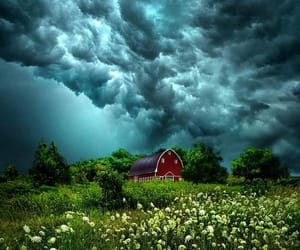barn, clouds, and dark clouds image