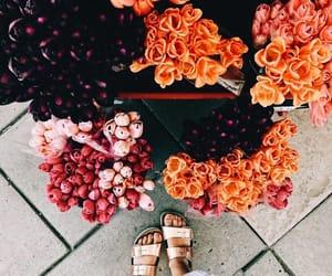black, flowers, and orange image