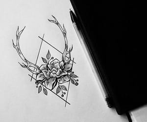 antlers, art, and flowers image