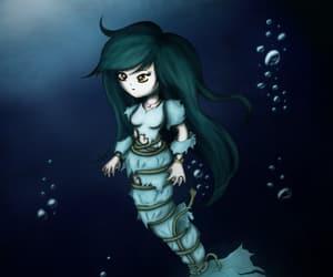 bubbles, ocean, and mermaid image