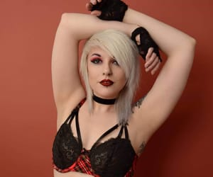 blonde, choker, and gloves image