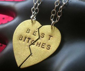 bitch, heart, and necklace image