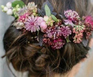 hair, flowers, and belleza image