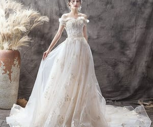 bridal, lace, and elegant wedding dress image