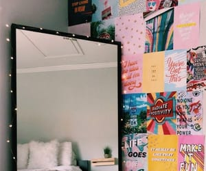 bedroom, decoration, and mirror image