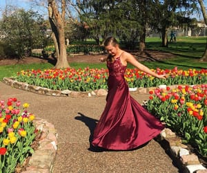 dress, maroon, and flowers image