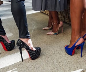 black, blue, and heels image