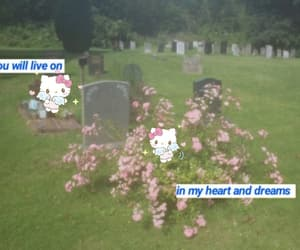 cemetery, flowers, and HelloKitty image