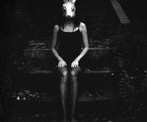 girl, mask, and rabbit image
