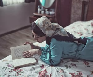 girl, reading, and scarf image