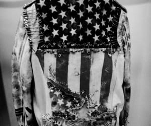american flag, black and white, and denim jacket image