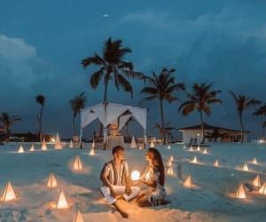 beach, romantic, and couple image